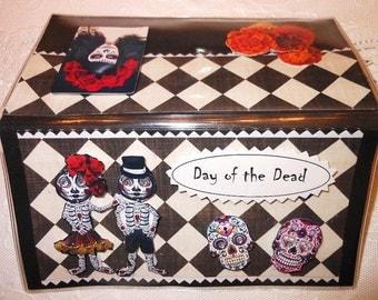 Day of the Dead Sugar Skull Halloween Skeleton Marigold  Scrapbooked Checkbook Cover - Vinyl Holder