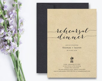 Printable Wedding Rehearsal Dinner Invitation - Rustic Background with black  (RD20)