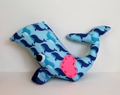 Stuffed Whale Plush with Blue Whale Pattern, Big Felt Eyes, and Hand-Stitched Heart