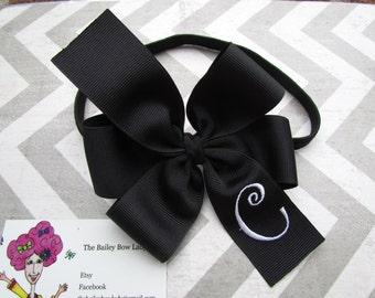 Black and White Monogrammed Bow Headband