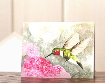 Hummingbird notecard, Watercolor notecard set, personal stationery, gardening notecards, art reprint, watercolor hummingbird, blank notecard
