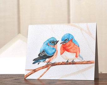 Bluebirds Christmas card, cuddling bluebirds holiday card set, watercolor christmas card, bird lover personal stationery set