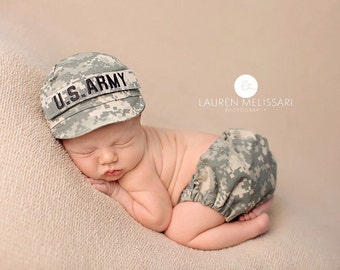 Military Diaper Cover & Cap Set - All Branches of Service- ACU, NWU, ABU, Desert, MultiCam, Coast Guard