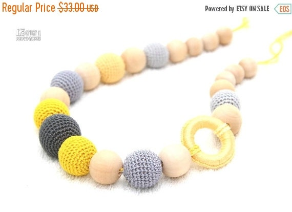 SALE 25% off Nursing mom necklace-Teething Breastfeeding necklace in grey and yellow with wooden ring