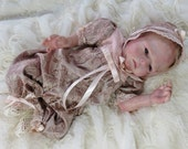 Embroidered Silk romper set for 15-17 inch preemie reborn, art doll, silicone baby   CLOTHING ONLY!