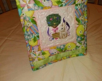 Easter/Happy Easter/Easter rabbit/framed holiday decor/spring fabric.Machine embroidery easter bunny on pink fabric.