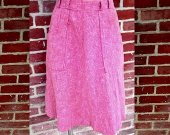 pink cotton heather 1970s skirt double pockets design 26 inch waist
