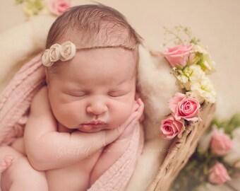 Chiffon Rose Tieback, Newborn Chiffon Tieback, Baby Photo Prop, Blush, Malt or Cream Baby Tieback, Organic Newborn Headband