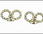 Rhinestone  Bow Shoe Clips ice crystal silver