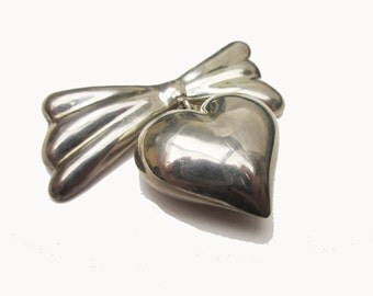 Heart Brooch Pendant Sterling Silver  Mexico heart and Bow