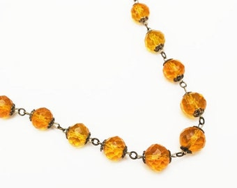 Yellow Crystal bead Graduated necklace