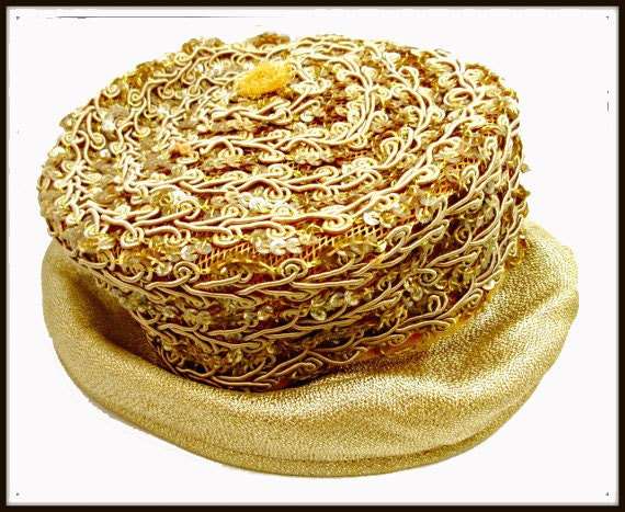 Gold   Pillbox Hat - Golden  Sequins. - gold stitching design