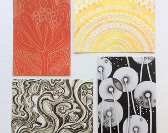 4 postcards - 5x7 / drawing / printmaking / sun / flower / art cards