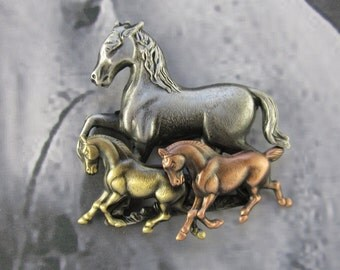 Galloping Horses Brooch