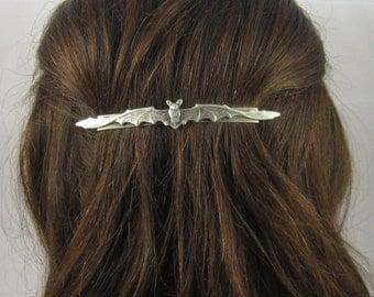 Bat Barrette- French Slide Barrette- Silver Barrette- Bat Hair Clip- Slide Barrette- Bat Accessory