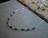 Turquoise Beaded Necklace Boho Layering Necklace Sterling Silver Short December Birthstone Handmade Chain Letemendia Jewelry