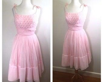 1950s Pink Chiffon Party Dress Vintage 1960s Beaded Garden Party Dress Summer Wedding Guest Dress Tea Dress Fit and Flare Dance Dress Small