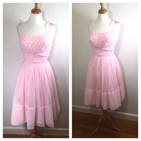 1950s pink chiffon party dress vintage 1960s beaded garden for 1950s wedding guest dresses