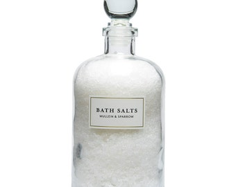 Detox Bath Salts - invigorating - soothing - organic lemongrass mint- glass apothecary bottle - mother's day