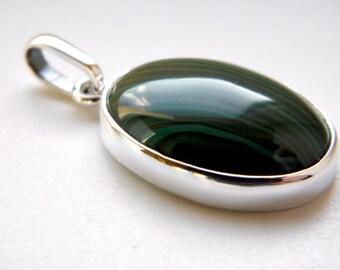 Malachite sterling silver pendant