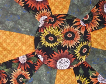 Fall Christmas Reversible Dresden Table Topper Centerpiece Sunflowers