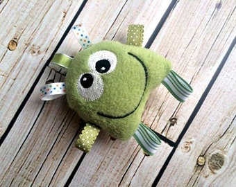 Baby Rattle Plushie - Green Monster Tag Toy - Stuffed Sensory Toy