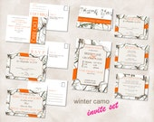 Wedding invite SET Instant Download TEMPLATES Just add your info and print! Winter Camo camouflage Invite set