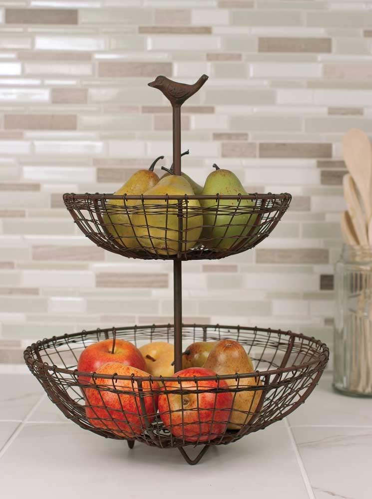 Tier Fruit Stand Basket Black Bird Kitchen Display Shabby Chic