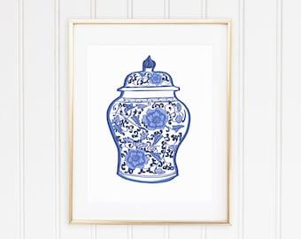Blue Floral Chinoiserie Vase Print