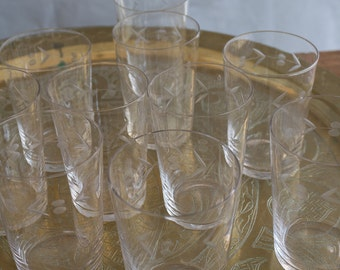Vintage Etched Glasses Set of 10