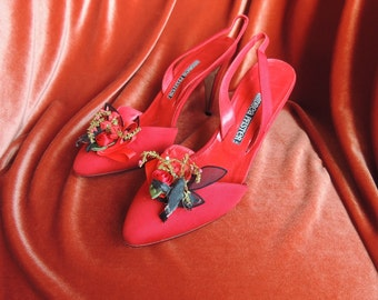 Size 7 Andrea Pfister Red Heels with Bird and Flowers