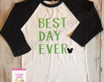 Best Day Ever in Green Mickey Mouse Inspired Raglan Baseball Shirt Custom Women Men Kid Child Family Perfect for Disney World Trip St. Patty