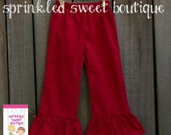 SALE Ready To Ship Big Red Ruffle Corduroy Girls Pants Perfect for Valentines Christmas Cute Matches Applique Shirts