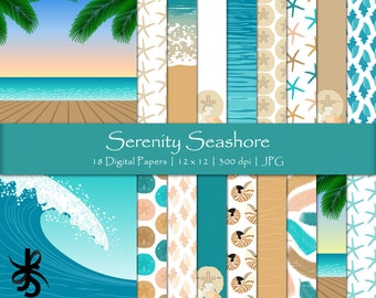 Digital Scrapbook Papers-Serenity Seashore-Seashells-Beach Party-Ocean-Tropical-Sea-Surfing-Starfish-Backgrounds-Instant Download Clip Art