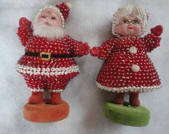 Vintage Flock Sequins Santa Claus and Mrs. Claus Dancing Santa and Mrs. Claus Sequins Santa Clause Flock Santa and Mrs. Claus Christmas