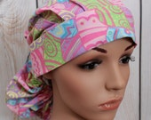 Ponytail Surgical Scrub Hat with Fabric Ties.  Easter Eggs