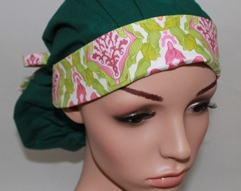 Green with Co-ordinate Band, Surgical Scrub Hat,Scrub Cap,Nurses Surgical Scrub Hat, Vet Tech,Front Fold Ponytail