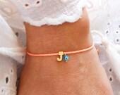 Monogram Bracelet - Turquoise Evil Eye Bracelet - Matte Gold Personalized Bracelet - Neon Coral - Waxed Cord Adjustable Initial Bracelet
