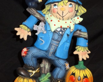 Adorable Vintage Halloween Ceramic Scarecrow with Pumpkins Figurine - Hand Painted - Not so Scary Halloween