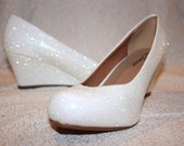 White Glitter Bridal Shoes - Wedding Wedges