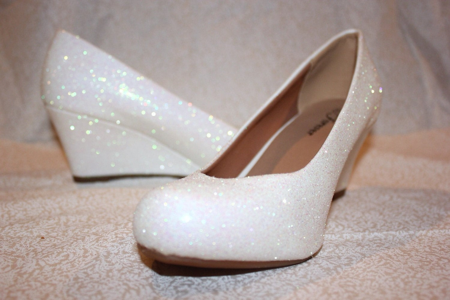white glitter bridal shoes wedding wedges