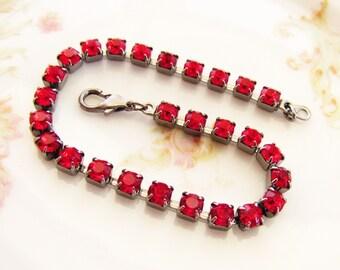 Vintage Ruby Red Rhinestone Bracelet Gunmetal Cup Chain 4mm Stones - 1