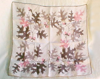 "Vintage Faith Austin Hanky - 1950s Designer Signed Linen Handkerchief - Palest Pink & Mauve Oak Leaves and Acorns - 14"" Square Hankie"