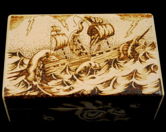 Kraken Attack Woodburned Keepsake Box