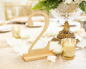 1-5 True Gold Wooden Wedding Table Numbers, Gold Table Numbers, Table Numbers on Stand
