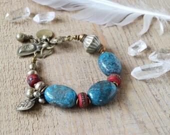 Bohemian turquoise bracelet - ethnic boho gypsy tribal bracelet - boho chic jewelry