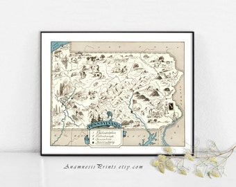 PENNSYLVANIA MAP PRINT - fun vintage picture map to frame - perfect housewarming or wedding gift - size & color choices - personalize it