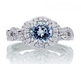 Platinum 6mm Aquamarine Diamond Halo Twist Ring Design