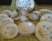 Hearthside Stoneware Highland Flowers Service for  4 New Old Stock  19 pieces (one missing saucer)