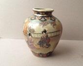 Japanese Satsuma vase Japaese figures Japanese ladies in kimonos Richly decorated Ivory olive earthenware jar Gilded decoration
